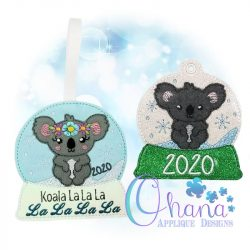 Koala Snowglobe Ornament Embroidery