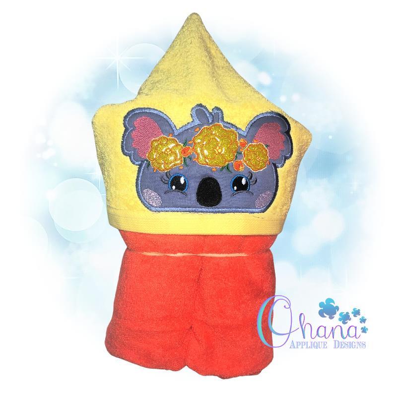 Floral Koala Peeker Embroidery