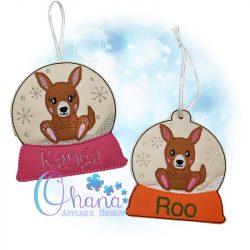 Kangaroo Snowglobe Ornament Embroidery