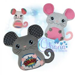 Clover Mouse Stuffie Embroidery