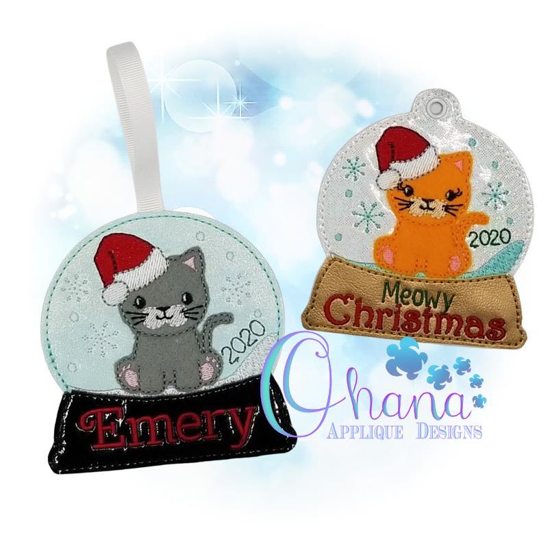 Santa Kitty Snowglobe Ornament