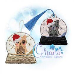 Santa Puppy Snowglobe Ornament