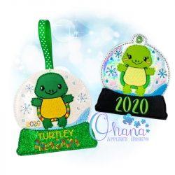 Turtle Snowglobe Ornament Embroidery