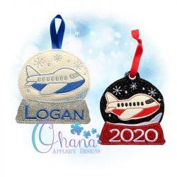 Airplane Snowglobe Ornament Embroidery