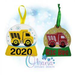 Dump Truck Snowglobe Ornament