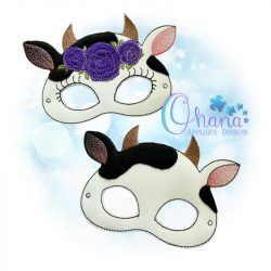 Floral Cow Mask Embroidery