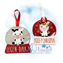 Floral Cow Snowglobe Ornament