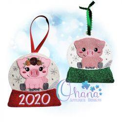 Floral Pig Snowglobe Ornament