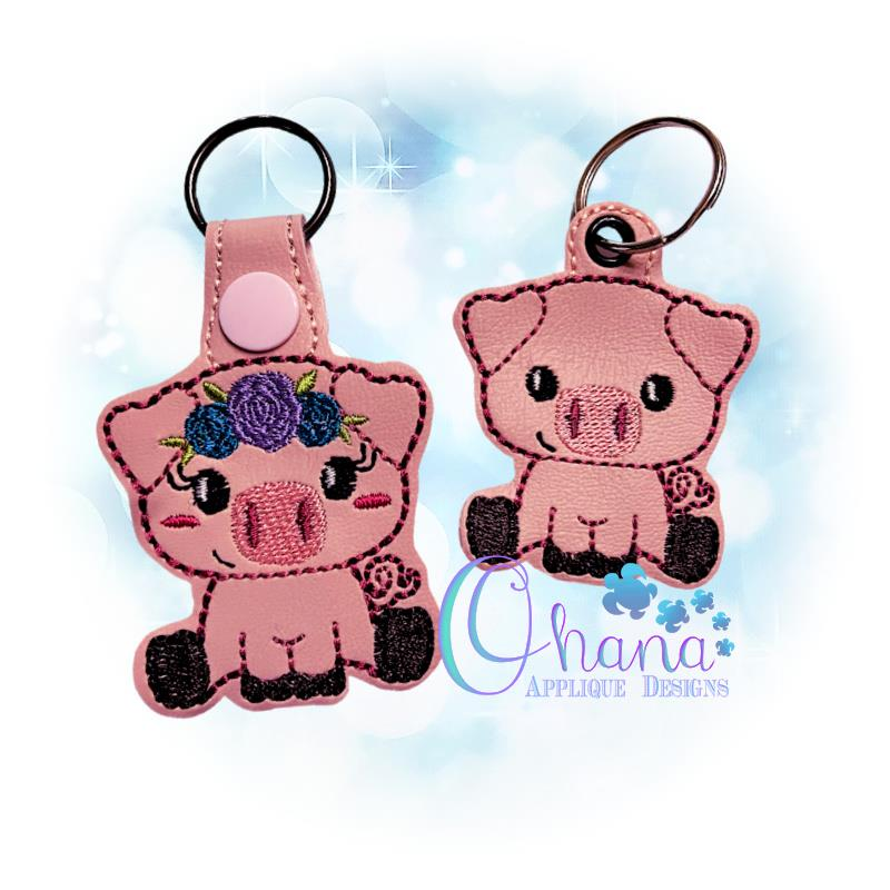 Floral Pig Key Chain
