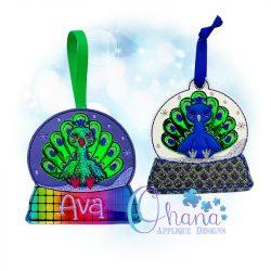 Peacock Snowglobe Ornament Embroidery