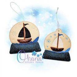 Sailboat Snowglobe Ornament Embroidery