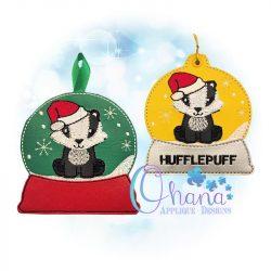 Santa Badger Snowglobe Ornament