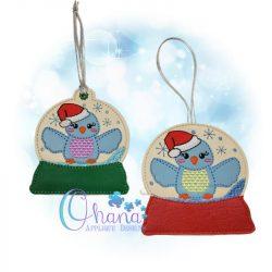 Santa Bella Bluebird Snowglobe
