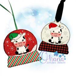 Santa Cow Snowglobe Ornament
