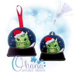Santa Dragon Snowglobe Ornament