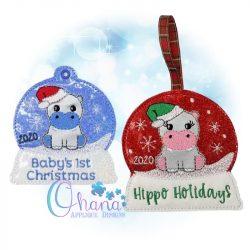 Santa Hippo Snowglobe Ornament