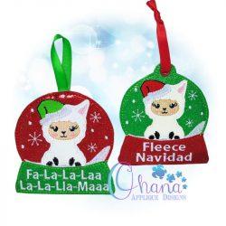 Santa Llama Snowglobe Ornament