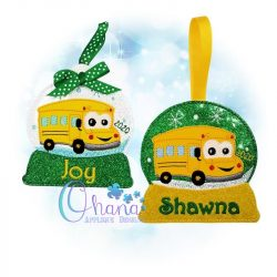 School Bus Snowglobe Ornament