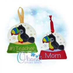 Toucan Snowglobe Ornament Embroidery