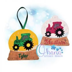 Tractor Snowglobe Ornament Embroidery