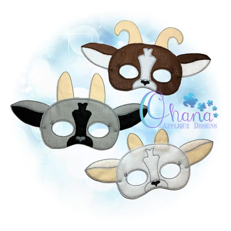 Goat Pretend Mask Embroidery
