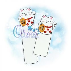 Lucky Kitty Bookmark Embroidery