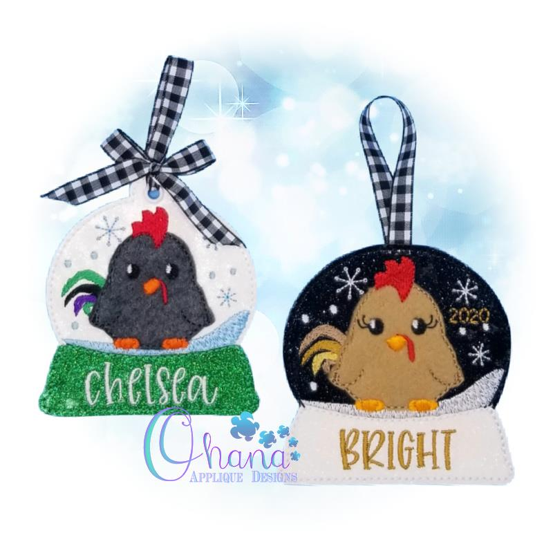 Rooster Snowglobe Ornament