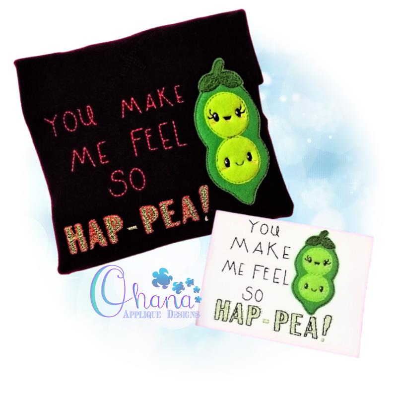 Hap-Pea Applique Embroidery Design