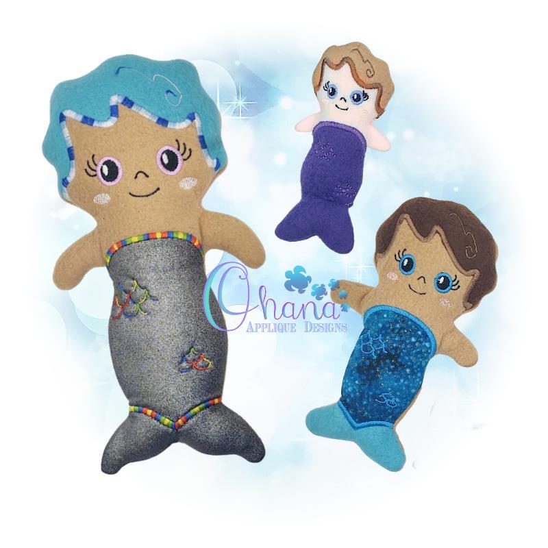 Aqua Mermaid Stuffie Embroidery