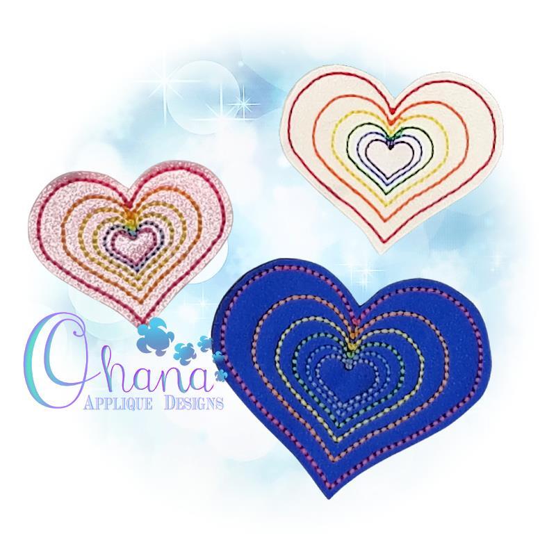 OAD Rainbow Heart Feltie AK 80072
