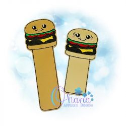 Burger Bookmark Embroidery Design