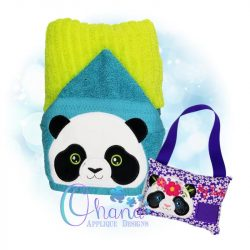 Floral Panda Peeker Embroidery