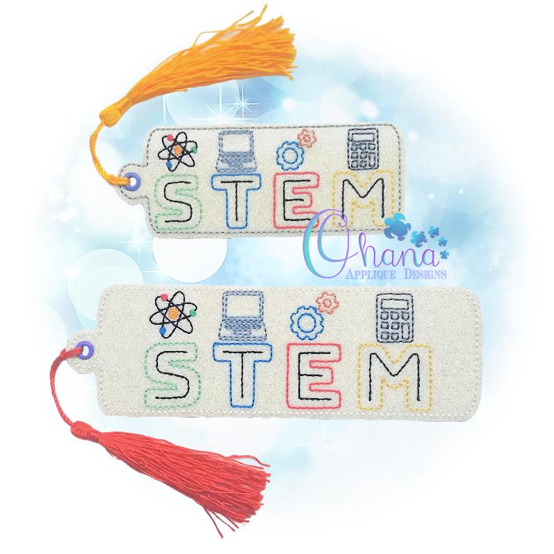 STEM Bookmark Embroidery Design