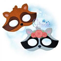 Raccoon Pretend Mask Embroidery