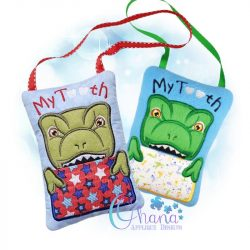 Trex Tooth Pillow Embroidery