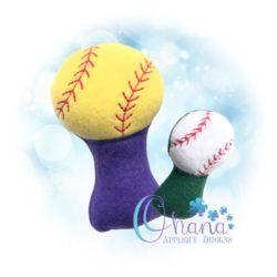 Baseball Rattle Embroidery Design