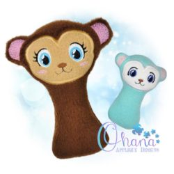 Monkey Rattle Embroidery Design