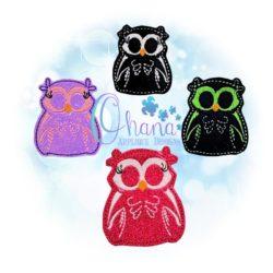Skelly Owl Feltie Embroidery