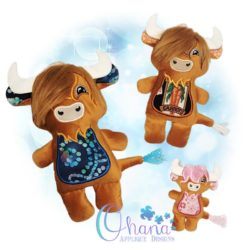 Highland Cow Stuffie Embroidery