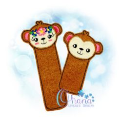 Monkey Bookmark Embroidery Design